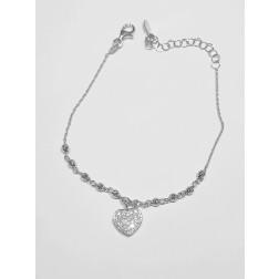 Bracciale Argento Bianco 925  Cuore Zirconi pendente