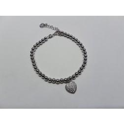 Bracciale  pallinato  argento 925-Cuore Bianco