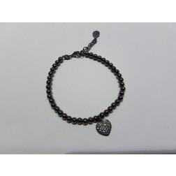 Bracc.iale  pallinato  argento 925-Cuore Nero