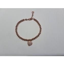 Bracciale  pallinato  argento 925-Cuore ,Rosa